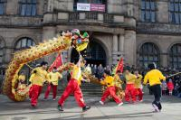 Dragon dancing performed outside Town Hall