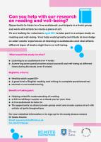Reading and Well-being study advert