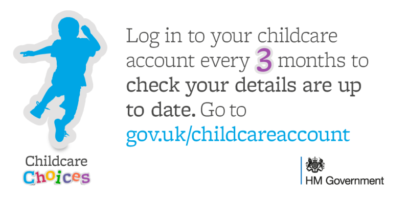 Image linking to Childcare Choices website to update details every three months