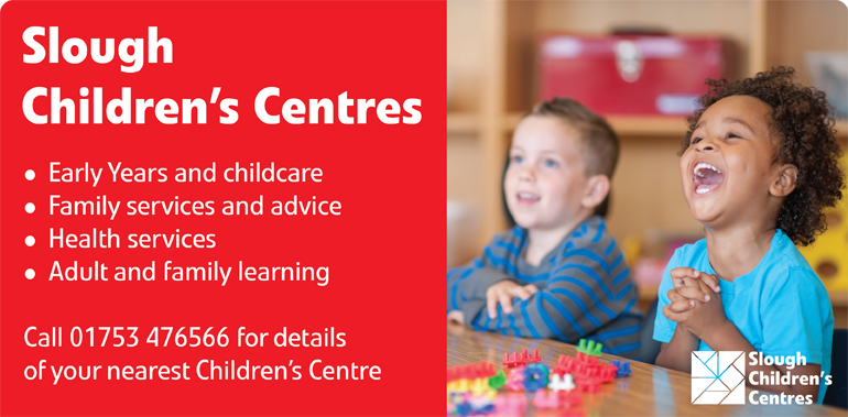 Image of two children and information on Children's Centres
