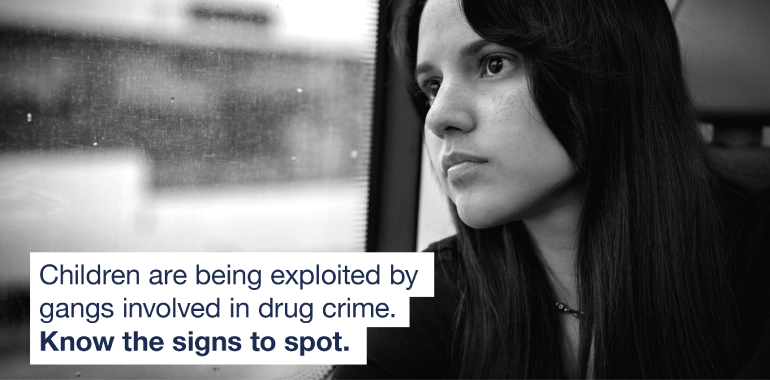 Image of a young person with message on criminal exploitation
