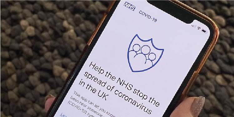 A smart phone with the NHS Covid-19 app details