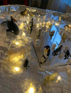 tuff spot with arctic cover and penguins