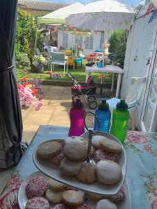 outside table with baked cookies