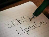 Notepad with SEND Updates written on it.
