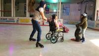 Lillie one of our regular customers enjoying herself on the ice.