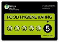 We proudly hold 5 stars in food hygiene