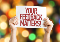 Image of your feedback matters sign.