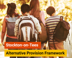 Stockton-on-Tees Alternative Provision Framework. Image of children with school bags.
