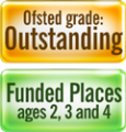 Funded places and Ofsted Outstanding logo