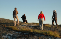 Image of four young people walking outside
