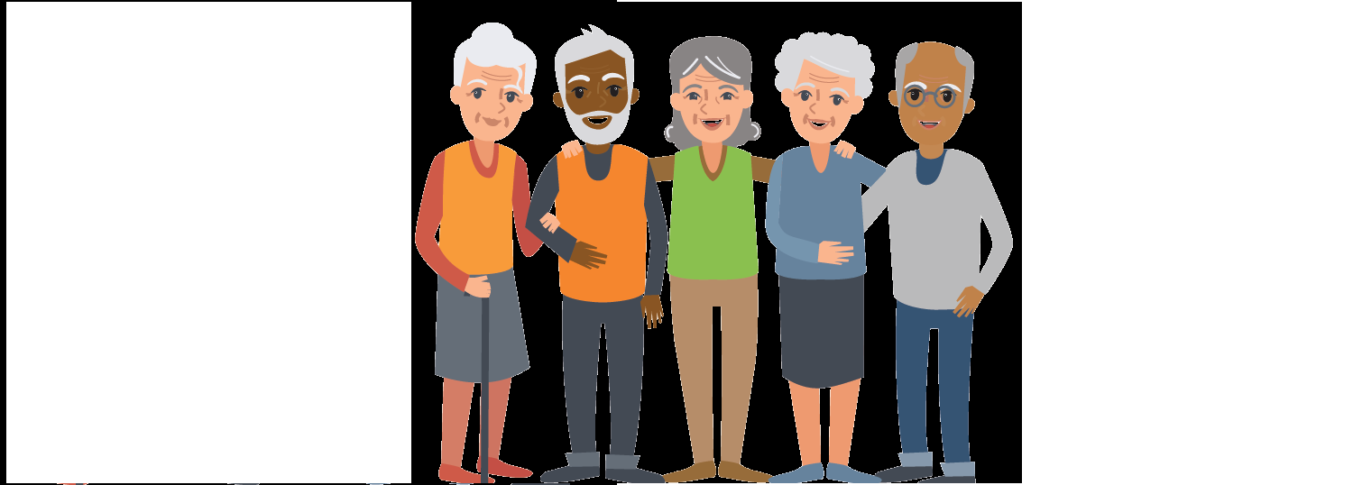 Cartoon depicting a group of older people