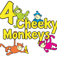 4 cheeky monkeys logo, yellow words with 4 different coloured monkeys climbing over the letters