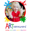 ARTventurers logo, a picture of a young girl in a paint splatter circle.