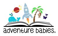 Adventure Babies logo, an open book with whale, rocket ship, palm tree and butterflies emerging from the pages