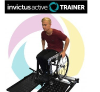 Invictus Active trainer logo with photo of man in wheelchair on a training ramp