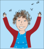 Cartoon of singing teacher Annelie
