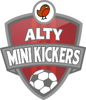 Alty Mini Kickers logo, crest in red with red robin at top and football at the base