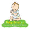 Baby sensory logo, a cartoon picture of a toddler sitting and using its hands