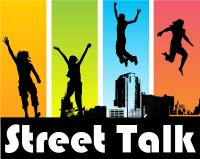 Street Talk Logo - young people jumping