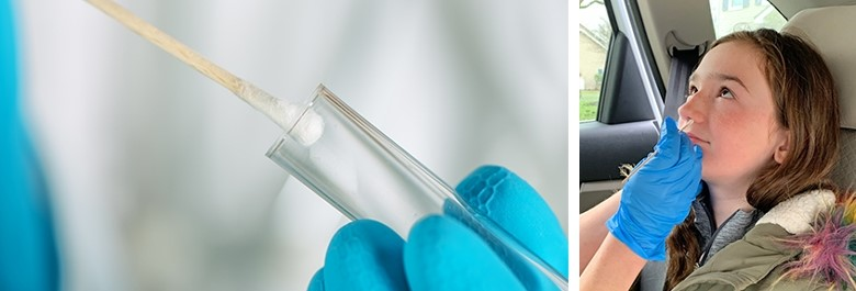 Image of a swab stick and girl having test