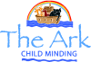 Ark Childminding Logo, picure of Noahs Ark on the water with a rainbow over the boat