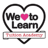 We Love To Learn tuition service logo, words in a black heart shape