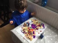 My son making a butterfly