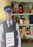 Cardboard cut out of policeman