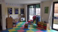 Activities and toys on a colourful floor