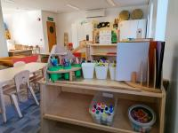 Large play area with craft supplies