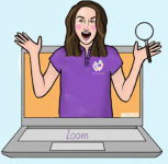 Laptop with a person popping out of the screen