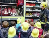 Children wearing firemen helments