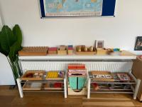 Shelves with multiple activities on it