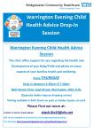 Poster for evening child health advice session