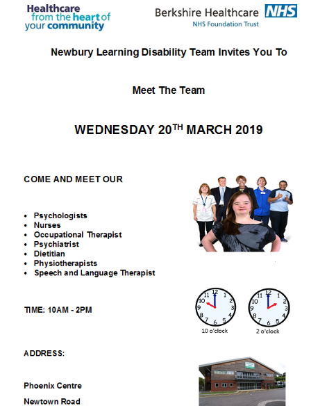 Meet the Newbury Learning Disability Team on 20 March 2019 at The Phoenix Centre, Newbury