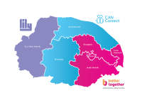 Map of Norfolk showing Lily covering West Norfolk, CAN connect covering North Norfolk and Breckland and Better Together covering Norwich, Great Yarmouth, Broadland and South Norfolk.