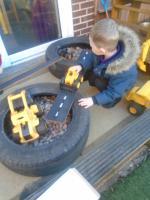 Construction in the garden.