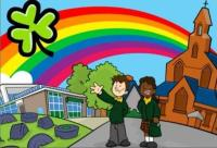 Cartoon image of two children and a rainbow