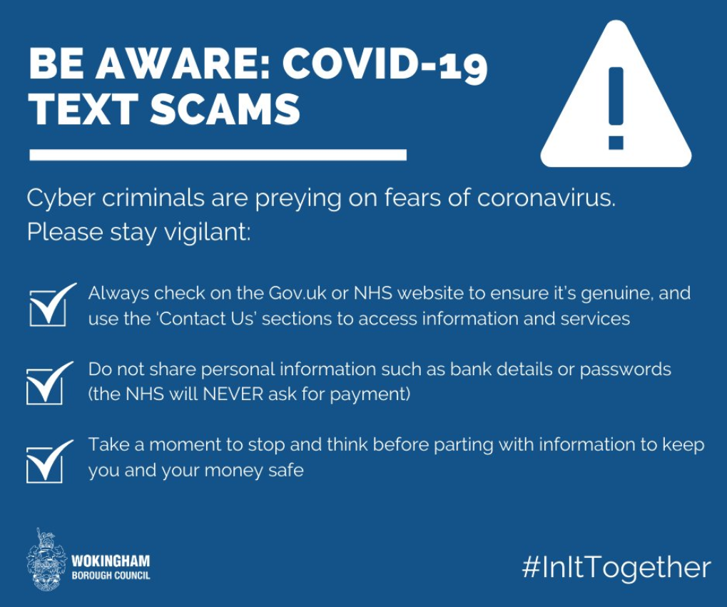 Be aware Covid-19 text scams