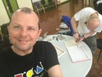 Gary and Alex from RAW - putting canvasses together for #BigLinkUp art project