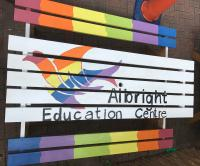 Picnic bench designed by young people at Albright Centre in Tipton as part of their Arts Award Explore qualification.