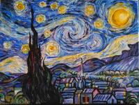 Acrylic version of Van Gogh's Starry Night by Alex Vann of RAW for an online demonstration