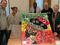 Black History month October 2019, RAW staff with Mayor of Wolverhampton and members of the public who created the canvas in one session