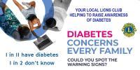 Local Lions Club promoting Diabetes Awareness